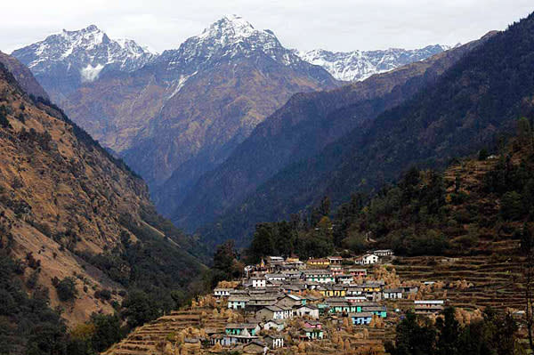 Khati village is the uppermost settlement of the Pindar Valley in Uttarakhand, beyond which a path heads up towards the Pindari Glacier