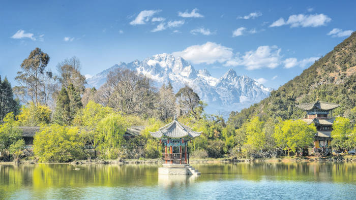 View of Jade Dragon Snow Mountain from Black Dragon Pool, Lijiang