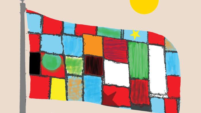 Illustration by Shonagh Rae of multi-coloured flag