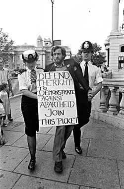 Protesting against apartheid outside South Africa House, London, 1984