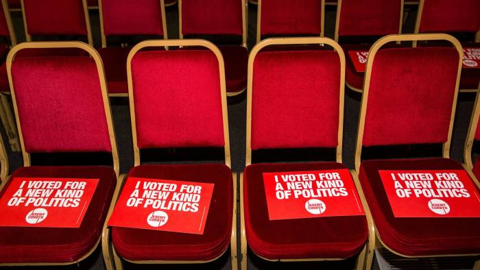 LONDON, ENGLAND - SEPTEMBER 10:  Signs supporting Jeremy Corbyn, MP for Islington North and candidate in the Labour Party leadership election, are seen on chairs ahead of speaches at the Rock Tower on September 10, 2015 in London, England.  Voting closed in the Labour Party leadership contest with the results of which due to be announced on September 12.  (Photo by Rob Stothard/Getty Images)