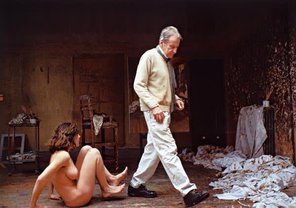 Lucian Freud with model in studio