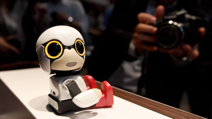 This picture taken on September 27, 2016 shows Toyota Motors' new communication robot 'Kirobo Mini' on dosplay during a press preview in Tokyo. Equipped with artificial intelligence and a built-in camera, the robot is capable of recognising the face of the person speaking to him and responding in unscripted conversation or even starting a chat. / AFP PHOTO / TOSHIFUMI KITAMURATOSHIFUMI KITAMURA/AFP/Getty Images