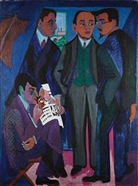 'A Group of Artists (The Painters of the Brücke)', 1925-26, by Ernst Ludwig Kirchner