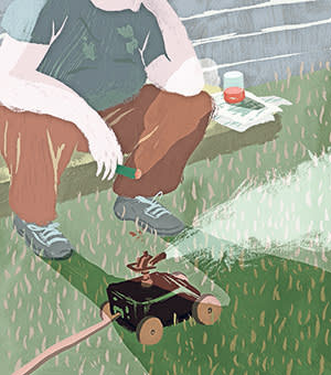 An illustration of a man sitting down with a cigar in hand. A sprinkler is in front of him