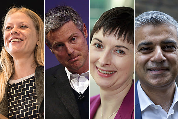 (from left) candidates Sian Berry of the Green party, Zac Goldsmith of the Conservatives, Caroline Pidgeon of the Liberal Democrats and Sadiq Khan of the Labour party