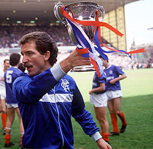 Graeme Souness with the Scottish League championship trophy in 1987