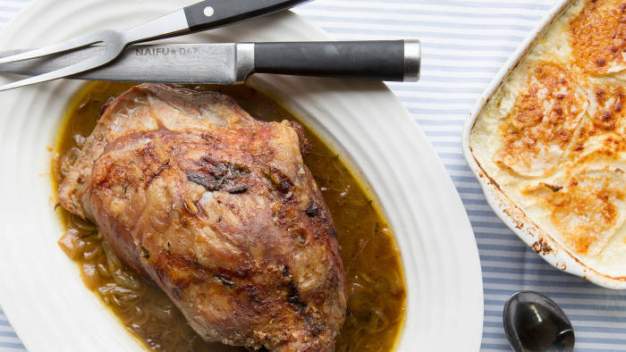Rowley Leigh's shoulder of lamb with onions and turnip gratin