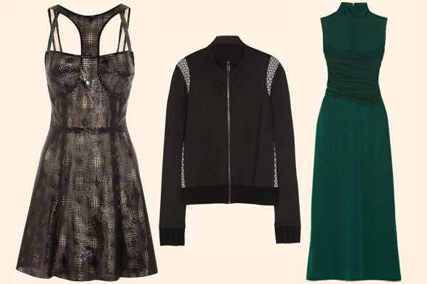 (From left) lasercut dress, £800; jacket, £295; silk dress, £395; all Capitol Couture by Trish Summerville