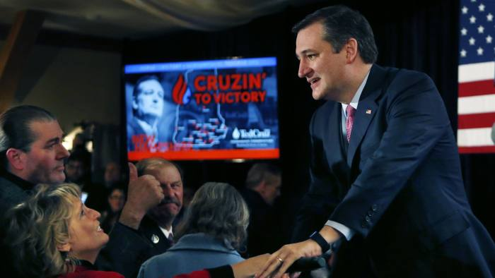 Ted Cruz...Republican presidential candidate Sen. Ted Cruz, R-Texas, greets supporters on primary election night, Tuesday, Feb. 9, 2016, in Hollis, N.H. (AP Photo/Robert F. Bukaty)