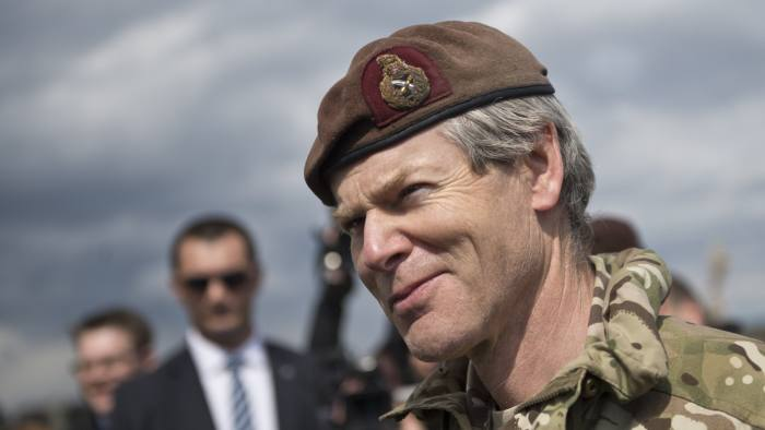 General Sir Adrian Bradshaw, deputy supreme commander of the Allied Forces in Europe takes part in the NATO