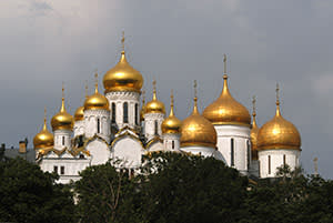 A Russian church with golden cupolas