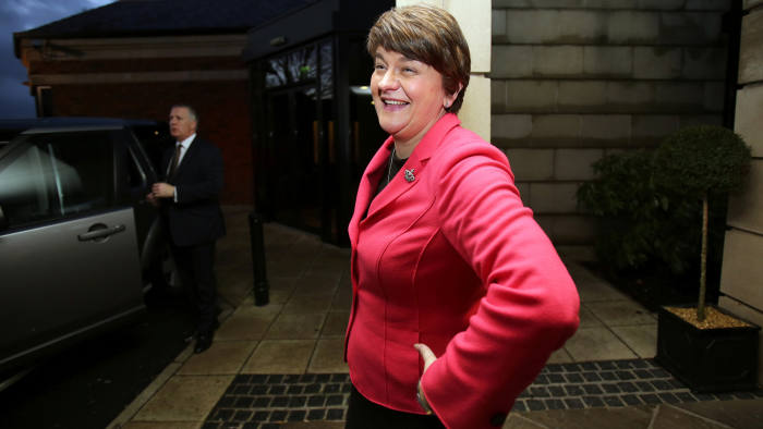 Arlene Foster, Northern Ireland Finance Minister arrives at a hotel in Belfast to be elected leader of the Democratic Unionist Party (DUP) on December 17, 2015. A special electoral college will gather at the hotel, and Foster is the only candidate for the leadership. Foster will replace Peter Robinson following his announcement that he will step down as Northern Ireland's First Minister and as leader of the DUP. AFP PHOTO / PAUL FAITH / AFP / PAUL FAITH (Photo credit should read PAUL FAITH/AFP/Getty Images)