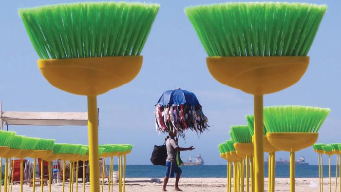 Brooms on the beach