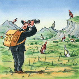 illustration of a man using binoculars to look for bottles of wine