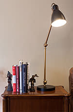 Set of books on lampstand in home of 24 year old Codecademy founder Zach Sims. New York City