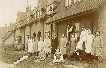 A teacher with her pupils in Letchworth
