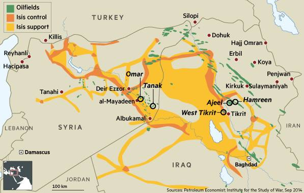 Isis Syria and Iraq oil map