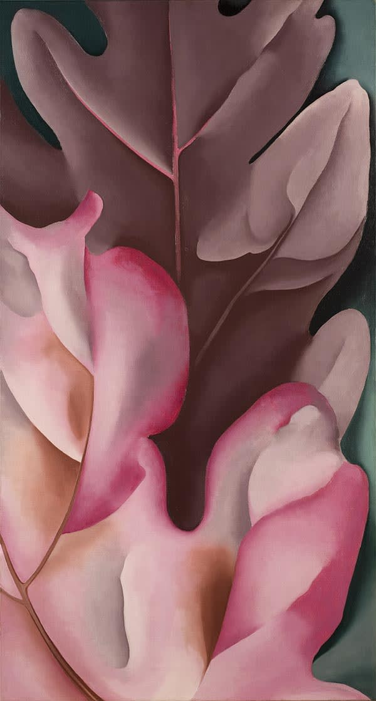 Georgia O'Keeffe 1887-1986 Oak Leaves, Pink and Grey 1927