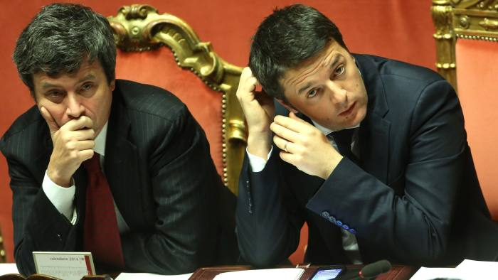 ROME, ITALY - FEBRUARY 24: Italian Prime Minister Matteo Renzi (R) and Minister of Justice Andrea Orlando attend a debate ahead of a confidence vote on Renzi's coalition government at the Italian Senate Palazzo Madama on February 24, 2014 in Rome, Italy. Renzi, 39, is the youngest prime minister in the country's history. (Photo by Franco Origlia/Getty Images)