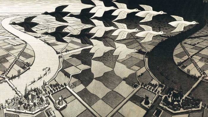 MC Escher's woodcut 'Day and Night' (1938)