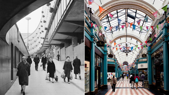 (Left) Shoppers in a city subway, 1963; (right) the Great Western Arcade, a restored 19th-century shopping mall in the city centre