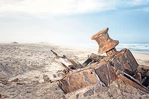 A shipwreck washed up on the Skeleton Coast