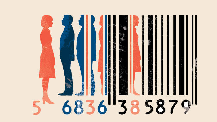illustration of bar code and people