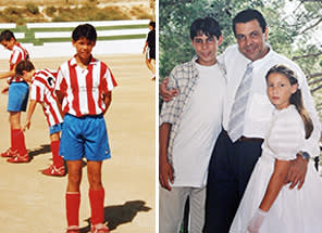 From left: playing football in Mallorca, aged eight; at 13, with father Sebastian and sister Maribel at her communion