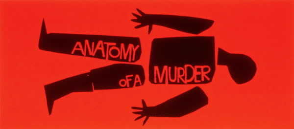 "Poster design by Saul Bass for Otto Preminger's 1959 film,  ""Anatomy of a Murder"""