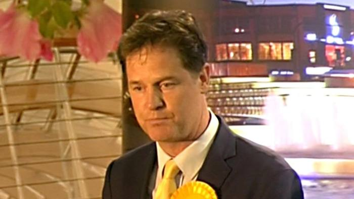 TV Grab of Nick Clegg who lost his seat of Sheffield Hallam