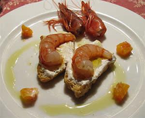 Langoustine bruschetta
