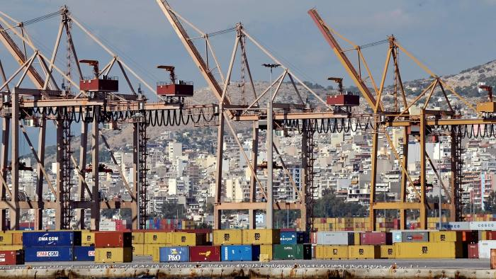Cranes stand unmanned on a dockside during a strike at the container terminal in Piraeus on October 12, 2009. The empty , due to the strike, container terminal is pictured on October 12, 2009 in Piraeus. Workers of the Piraeus Port Authority (OLP) continued their strike, protesting against the handover of terminal management services to China's Cosco Pacific. AFP PHOTO /LOUISA GOULIAMAKI (Photo credit should read LOUISA GOULIAMAKI/AFP/Getty Images)