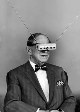 Inventor Hugo Gernsback's 'teleyeglasses' mock-up in 1963