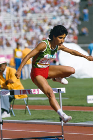 Nawal el-Moutawakel of Morocco during the women's 400-meter hurdles of the Los Angeles Olympics