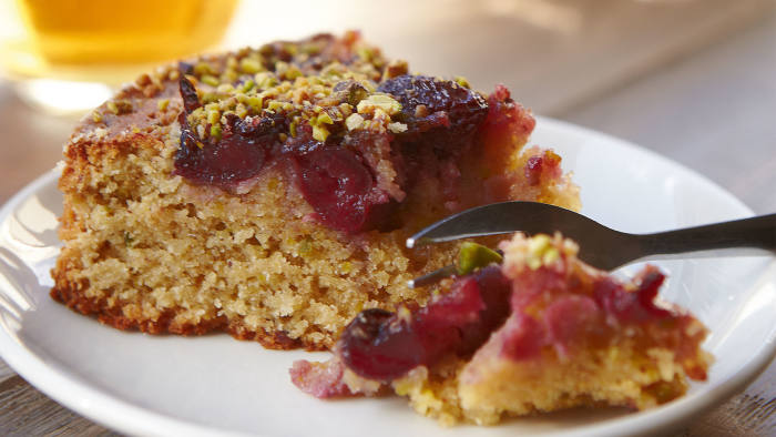Cherry, pistachio and coconut cake
