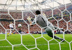 Steven Gerrard of England has his penalty saved by Ricardo of Portugal in a penalty shootout during the Fifa World Cup Germany 2006