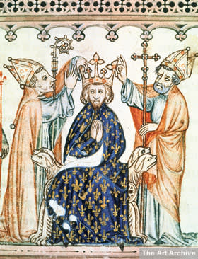 An illuminated manuscript showing the coronation of Philippe III of France