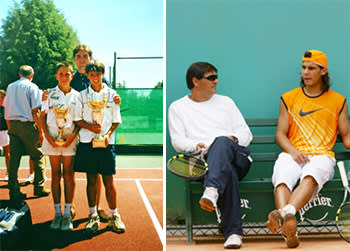 From left: Nadal wins a regional tournament for under-12s, aged nine; with uncle Toni, his coach, Paris 2005