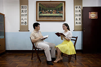 Engaged couple. The Catholic Church has an active youth following and their events are often successful in matchmaking