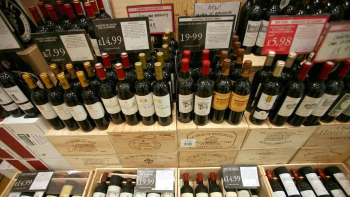 Wine on display at a Majestic Wine outlet near London's financial district