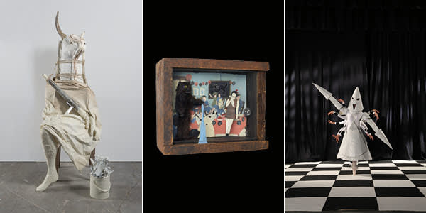 Three works by Marcel Dzama. Left: 'The minotaur', plaster sculpture, 2008. Centre: a video still of The Queen from the film 'A Game of Chess', 2011. Right: 'Hallowe'en party with catperson and lady', diorama made from wood, glass, cardboard, collage, watercolour and ink, 2006