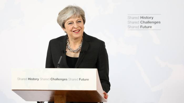 Theresa May, U.K. prime minister, delivers a speech at Complesso Santa Maria Novella in Florence, Italy, on Friday, Sept. 22, 2017. May will on Friday propose a period of transition after Brexit takes effect in March 2019, aiming to give certainty and clarity to companies worried about the looming split. Photographer: Chris Ratcliffe/Bloomberg