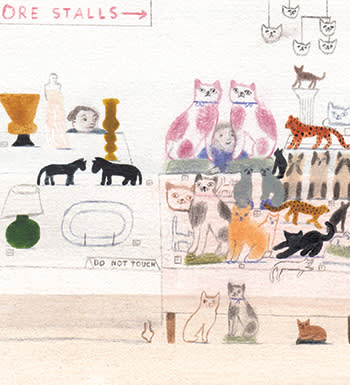 Illustration by Laura Carlin of man's external possessions