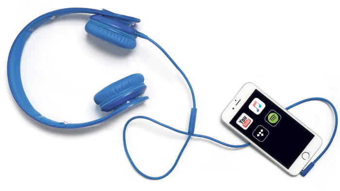 A mobile phone with music-streaming apps