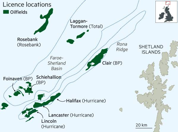 Map Of Uk Oil Fields.Shetland Oil Discoveries Fuel Hopes For Uk Production Financial Times