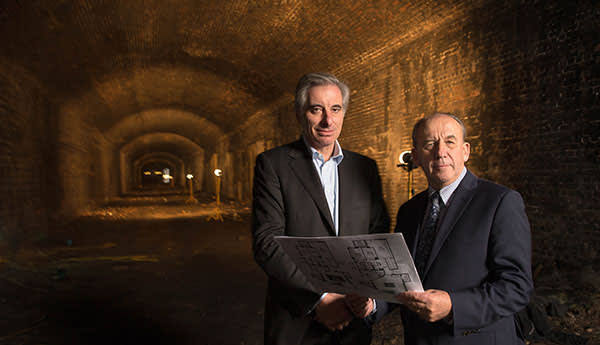 Developer Charles Rifkind (left) in the tunnels under Lord's last year with Keith Hague, then chief executive of neighbouring Wellington hospital