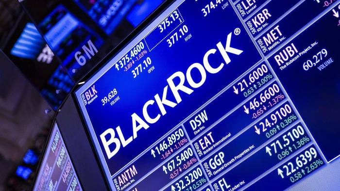 A monitor displays BlackRock Inc. signage on the floor of the New York Stock Exchange (NYSE) in New York, U.S