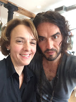 Lucy Kellaway and Russell Brand