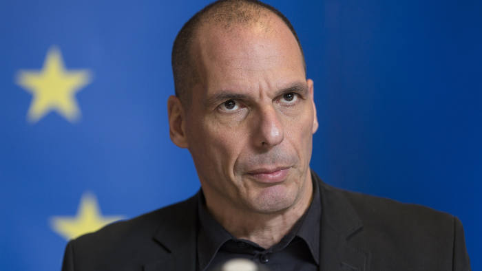 Greek Finance Minister Yanis Varoufakis gives a press conference at the end of a eurozone finance ministers meeting at the European Union Council headquarters in Luxembourg on June 18, 201